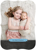 Chalky Frame Blue Ornate Birth Announcements Flat Cards - Back