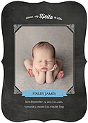 Chalky Frame Blue Ornate Birth Announcements Flat Cards - Front