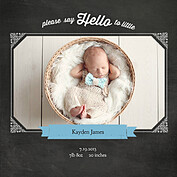 Chalky Frame Blue Square Birth Announcements Flat Cards - Front