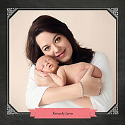 Chalky Frame Pink Square Birth Announcements Flat Cards - Back