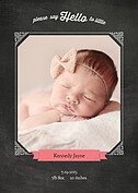 Chalky Frame Pink Birth Announcements Flat Cards - Front