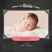 Chalky Frame Pink Square Birth Announcements Flat Cards - Front