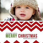 Chevron Christmas Square Christmas Flat Cards - Front