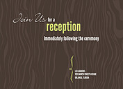 Chocolate Woodgrain Reception Flat Cards - Front