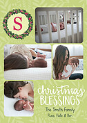 Christmas Blessings Yellow Christmas Flat Cards - Front