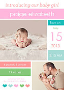 Colorblock Girl Birth Announcements Flat Cards - Front