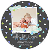 Confetti Boy Circle Birth Announcements Flat Cards - Front