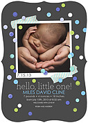 Confetti Boy Ornate Birth Announcements Flat Cards - Front