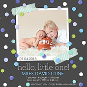 Confetti Boy Square Birth Announcements Flat Cards - Front