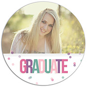 Confetti Cool Circle Graduation Flat Cards - Front