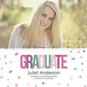 Confetti Cool Square Graduation Flat Cards - Front