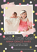 Confetti Girl Birth Announcements Flat Cards - Front