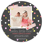 Confetti Girl Circle Birth Announcements Flat Cards - Front