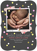Confetti Girl Ornate Birth Announcements Flat Cards - Front