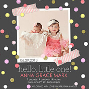 Confetti Girl Square Birth Announcements Flat Cards - Front