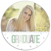 Confetti Mint Circle Graduation Flat Cards - Front