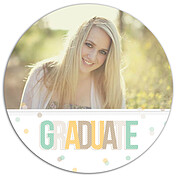 Confetti Neutral Circle Graduation Flat Cards - Front