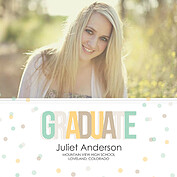 Confetti Neutral Square Graduation Flat Cards - Front