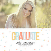 Confetti Warm Square Graduation Flat Cards - Front
