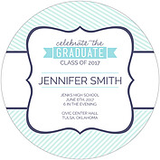 Country Club Blue Circle Graduation Flat Cards - Back