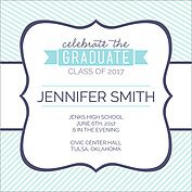 Country Club Blue Square Graduation Flat Cards - Back