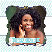 Country Club Blue Square Graduation Flat Cards - Front