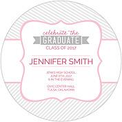 Country Club Pink Circle Graduation Flat Cards - Back