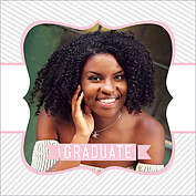 Country Club Pink Square Graduation Flat Cards - Front
