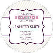 Country Club Purple Circle Graduation Flat Cards - Back