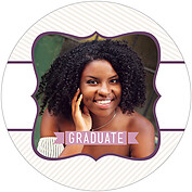 Country Club Purple Circle Graduation Flat Cards - Front