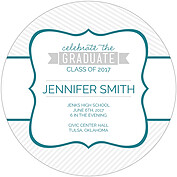 Country Club Teal Circle Graduation Flat Cards - Back
