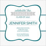Country Club Teal Square Graduation Flat Cards - Back