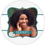 Country Club Teal Circle Graduation Flat Cards - Front