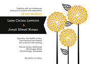 Dahlia Trio Wedding Invites Flat Cards - Front