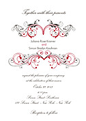Fancy Scroll Wedding Invites Flat Cards - Front