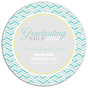 Festive Waves Turquoise Circle Graduation Flat Cards - Back