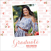Float On Coral Square Graduation Flat Cards - Front