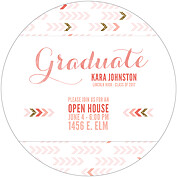 Float On Coral Circle Graduation Flat Cards - Back
