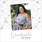 Float On Gray Square Graduation Flat Cards - Front