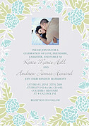 Floral Wreath Invitation Aqua Wedding Invites Flat Cards - Front