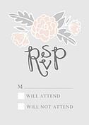 Floral Wreath RSVP Pink RSVP Flat Cards - Front