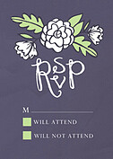 Floral Wreath RSVP Purple RSVP Flat Cards - Front