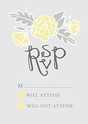 Floral Wreath RSVP Yellow RSVP Flat Cards - Front
