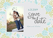 Floral Wreath Date Aqua Save the Date Flat Cards - Front