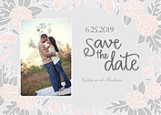 Floral Wreath Date Pink Save the Date Flat Cards - Front
