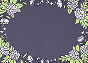 Floral Wreath Date Purple Save the Date Flat Cards - Back