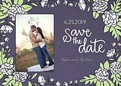 Floral Wreath Date Purple Save the Date Flat Cards - Front