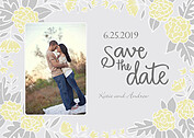 Floral Wreath Date Yellow Save the Date Flat Cards - Front