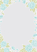 Floral Wreath Thanks Aqua Thank You Cards - Back