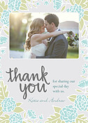 Floral Wreath Thanks Aqua Thank You Cards - Front